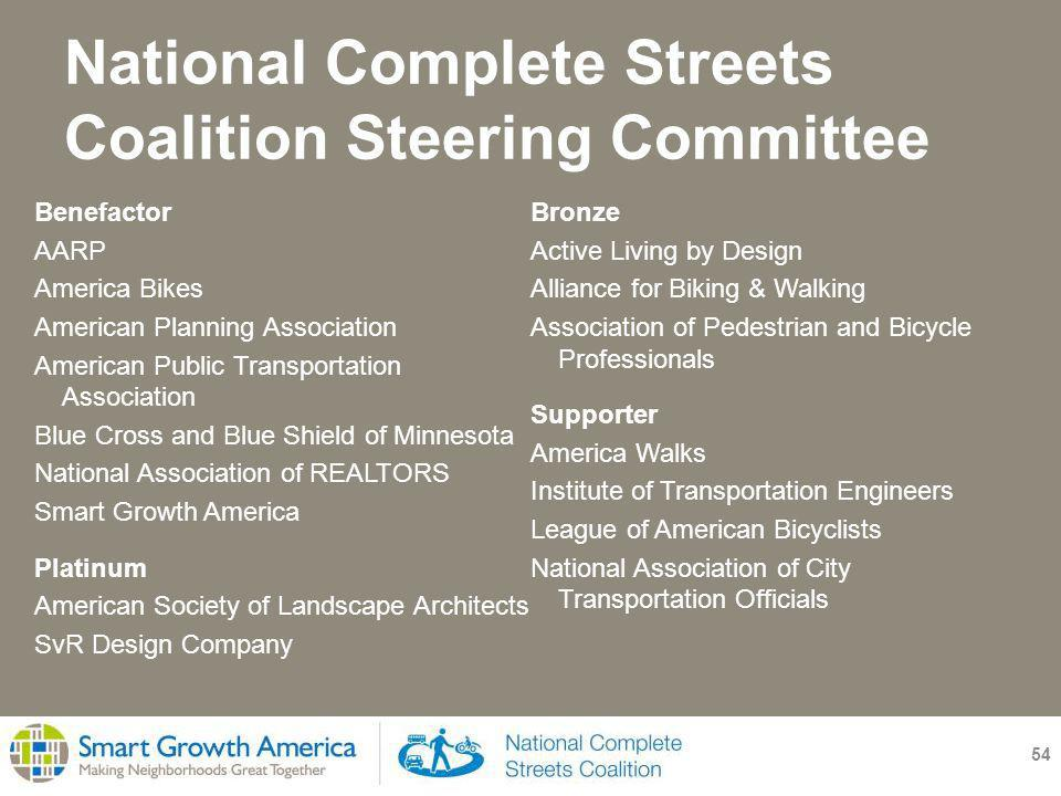 National Complete Streets Coalition Steering Committee 54 Benefactor AARP America Bikes American Planning Association American Public Transportation Association Blue Cross and Blue Shield of Minnesota National Association of REALTORS Smart Growth America Platinum American Society of Landscape Architects SvR Design Company Bronze Active Living by Design Alliance for Biking & Walking Association of Pedestrian and Bicycle Professionals Supporter America Walks Institute of Transportation Engineers League of American Bicyclists National Association of City Transportation Officials