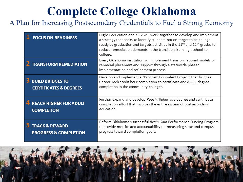 Complete College Oklahoma A Plan for Increasing Postsecondary Credentials to Fuel a Strong Economy 1 FOCUS ON READINESS Higher education and K-12 will work together to develop and implement a strategy that seeks to identify students not on target to be college- ready by graduation and targets activities in the 11 th and 12 th grades to reduce remediation demands in the transition from high school to college.