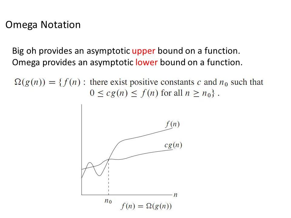 Omega Notation Big oh provides an asymptotic upper bound on a function. Omega provides an asymptotic lower bound on a function.