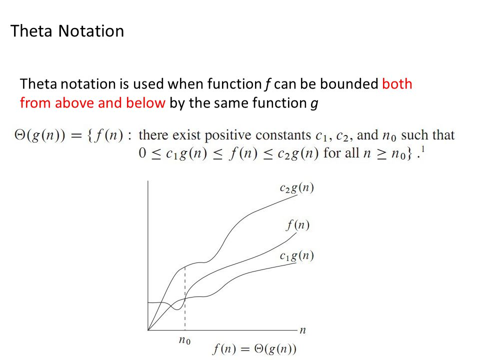 Theta Notation Theta notation is used when function f can be bounded both from above and below by the same function g