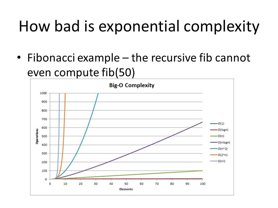 How bad is exponential complexity Fibonacci example – the recursive fib cannot even compute fib(50)