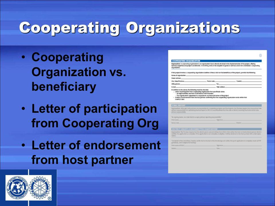 Cooperating Organizations Cooperating Organization vs.