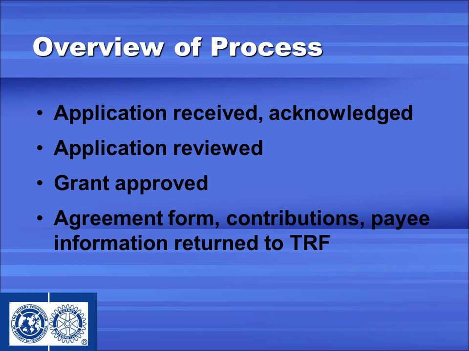 Application received, acknowledged Application reviewed Grant approved Agreement form, contributions, payee information returned to TRF Overview of Process