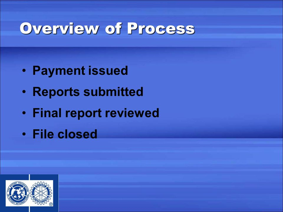 Payment issued Reports submitted Final report reviewed File closed