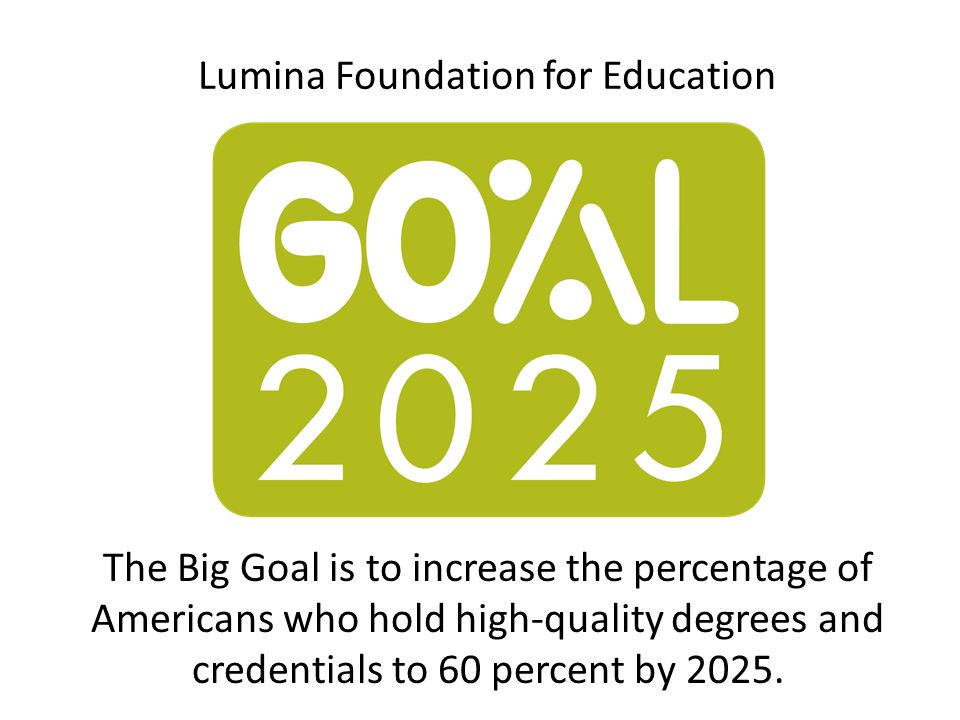 Lumina Foundation for Education The Big Goal is to increase the percentage of Americans who hold high-quality degrees and credentials to 60 percent by 2025.