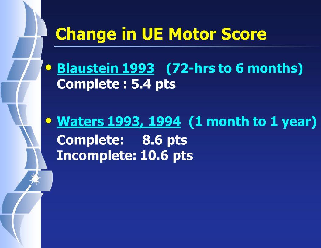 UE recovery in Tetraplegia (Waters et al., 1993)