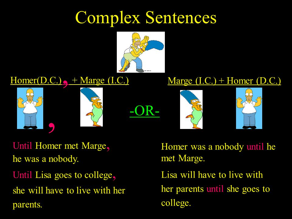 Complex Sentences A complex sentence is a combination of an independent clause and a dependent clause. Think of a Complex Sentence as the partnership