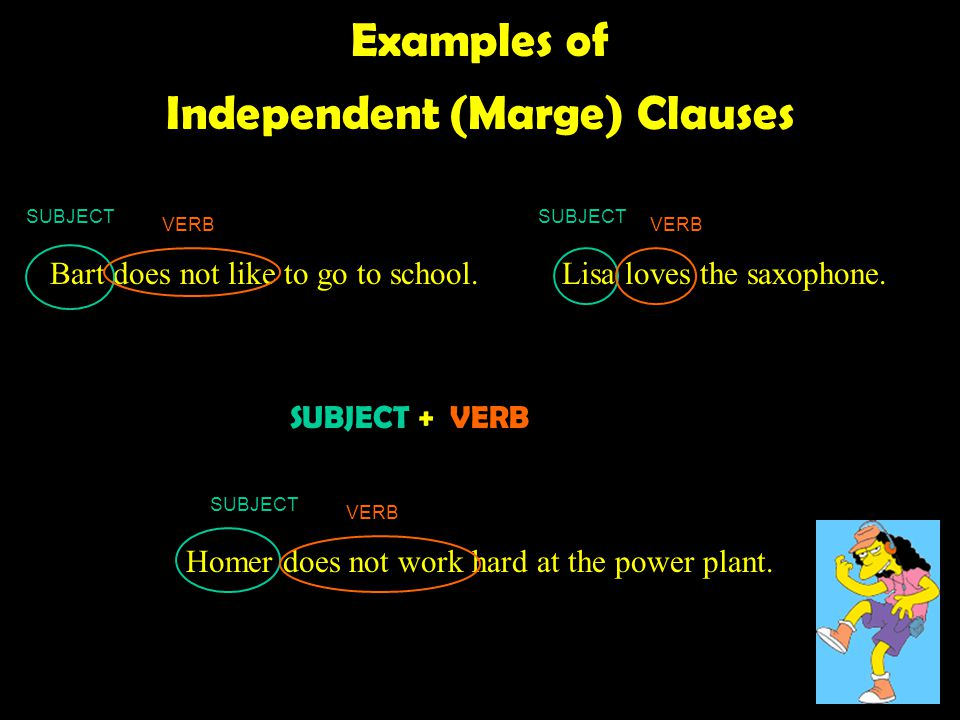 Examples of Independent (Marge) Clauses Homer does not work hard at the power plant.
