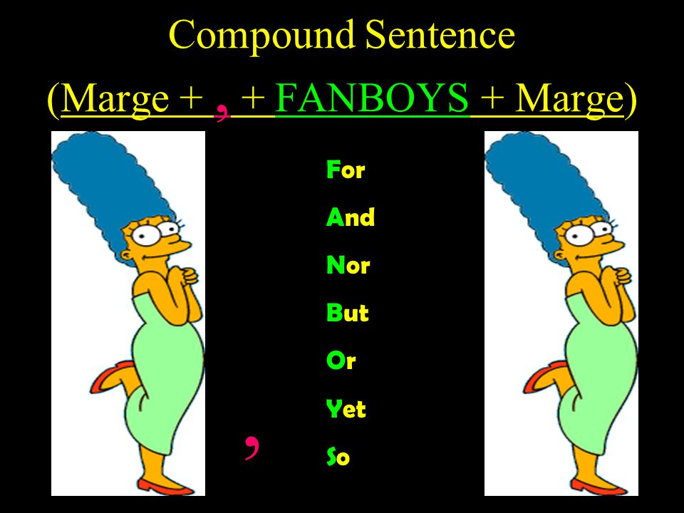 Simple Sentences (Marge) Subject + Verb Marge walks to the lake.