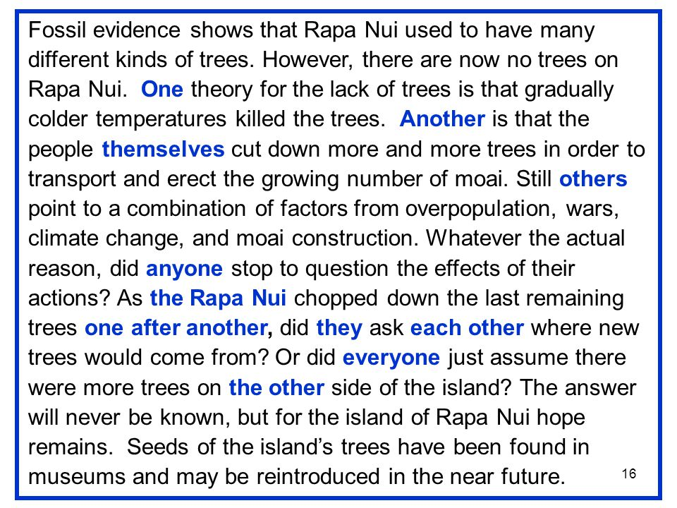 16 Fossil evidence shows that Rapa Nui used to have many different kinds of trees.