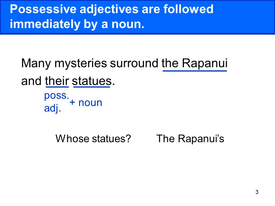 14 Practice 2 Using the pronouns provided, create your own sentences about Rapa Nui.