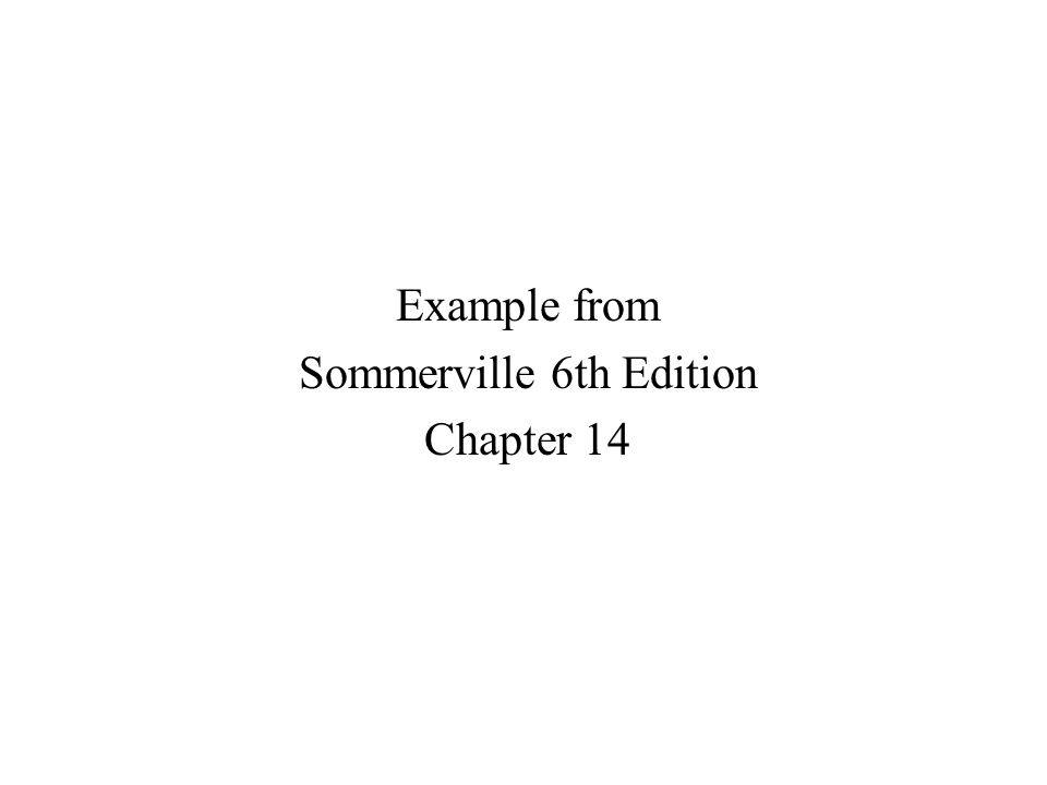 Example from Sommerville 6th Edition Chapter 14