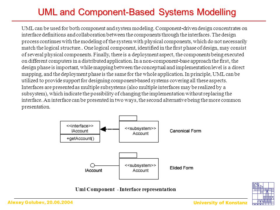 Alexey Golubev, 20.06.2004 UML and Component-Based Systems Modelling UML can be used for both component and system modeling. Component-driven design c