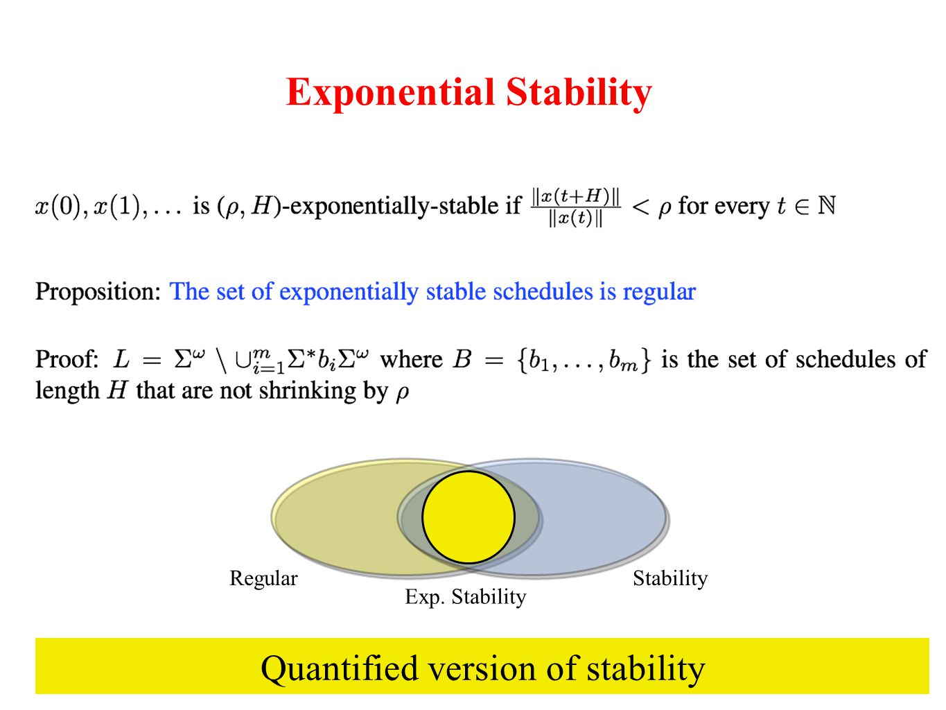 Exponential Stability StabilityRegular Exp. Stability Quantified version of stability