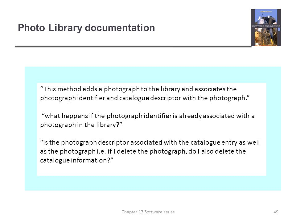 "Photo Library documentation ""This method adds a photograph to the library and associates the photograph identifier and catalogue descriptor with the p"