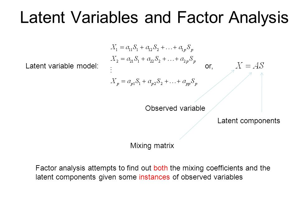 Latent Variables and Factor Analysis Latent variable model:or, Observed variable Latent components Mixing matrix Factor analysis attempts to find out