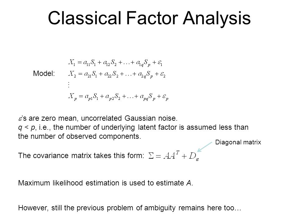 Classical Factor Analysis Model:  's are zero mean, uncorrelated Gaussian noise. q < p, i.e., the number of underlying latent factor is assumed less