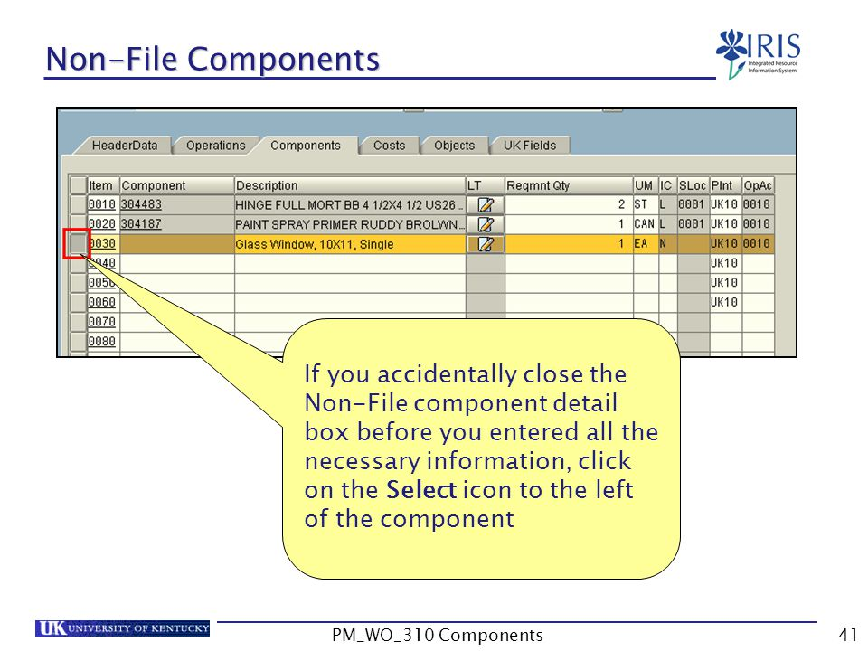 Non-File Components If you accidentally close the Non-File component detail box before you entered all the necessary information, click on the Select icon to the left of the component 41PM_WO_310 Components