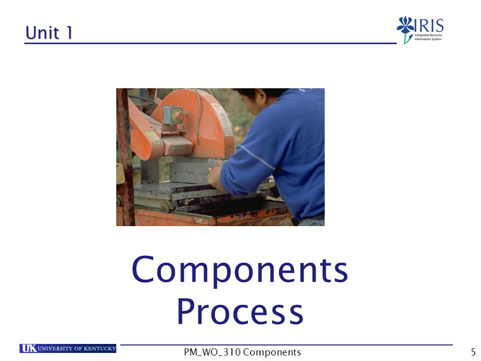 Unit 1 Components Process 5PM_WO_310 Components