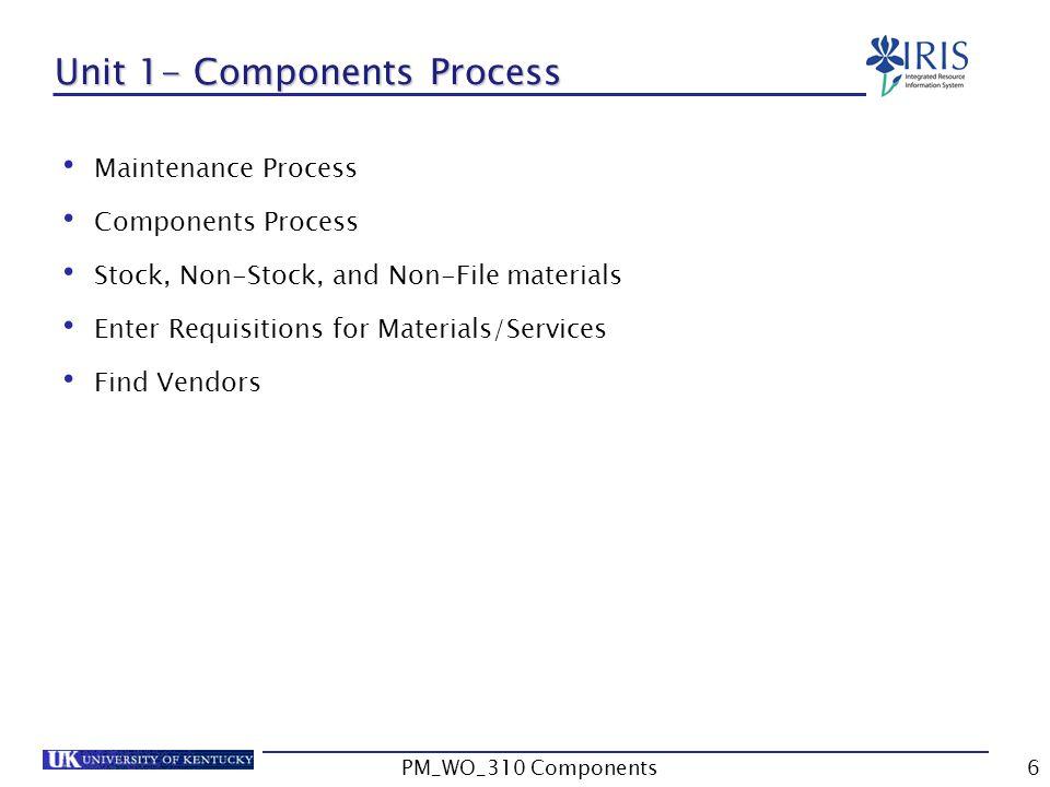Unit 1- Components Process Maintenance Process Components Process Stock, Non-Stock, and Non-File materials Enter Requisitions for Materials/Services Find Vendors 6PM_WO_310 Components
