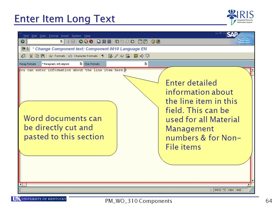 Enter Item Long Text Enter detailed information about the line item in this field. This can be used for all Material Management numbers & for Non- Fil
