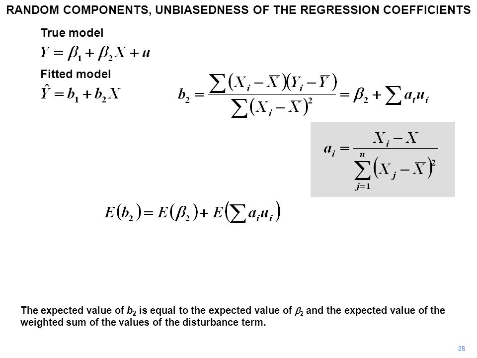28 The expected value of b 2 is equal to the expected value of  2 and the expected value of the weighted sum of the values of the disturbance term.