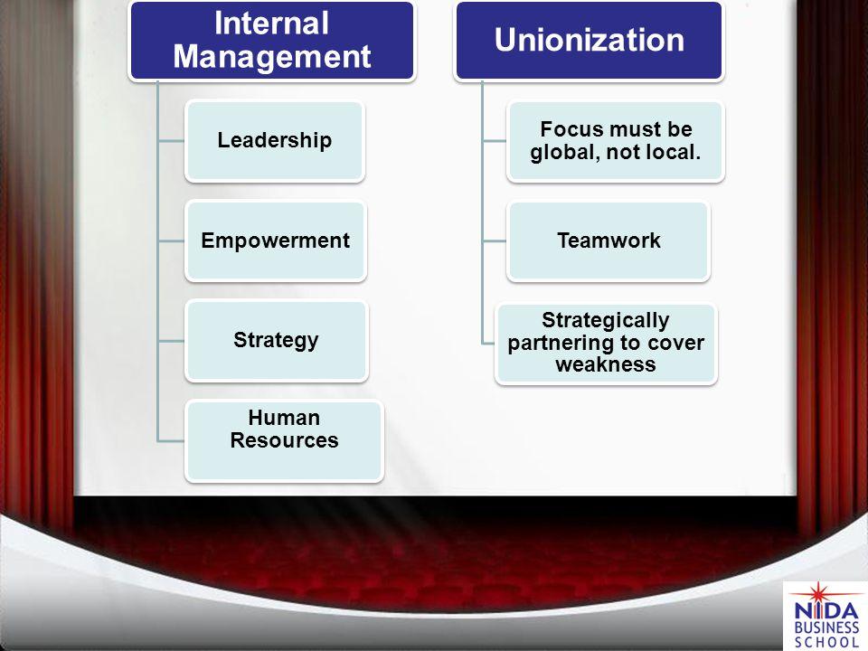 Organization Internal Management Unionization