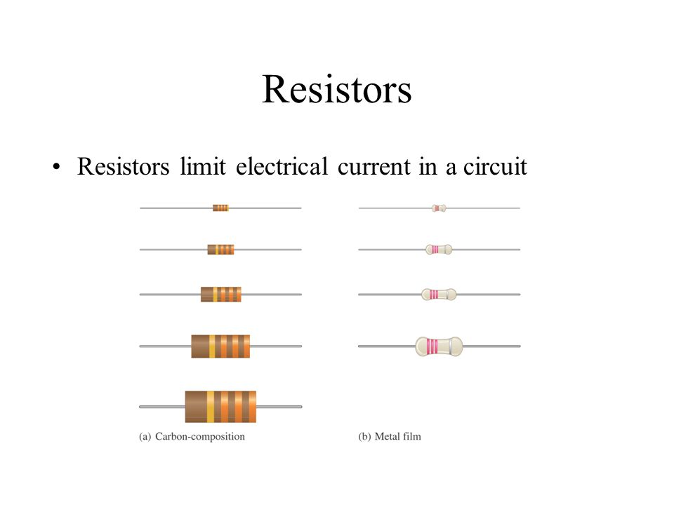 Resistors Resistors limit electrical current in a circuit