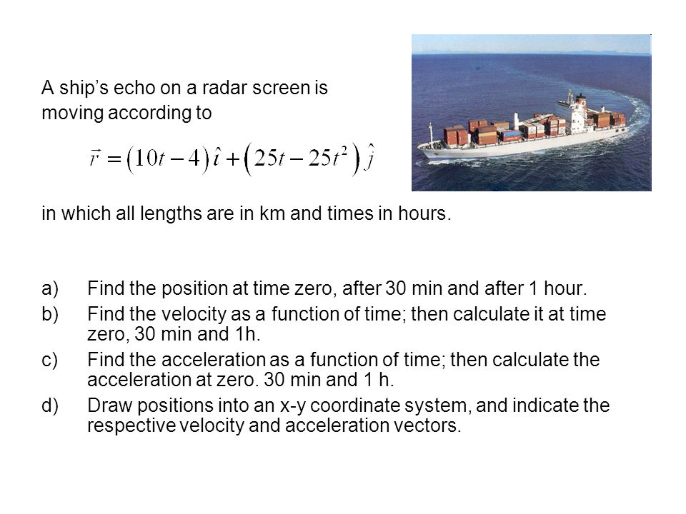 A ship's echo on a radar screen is moving according to in which all lengths are in km and times in hours. a)Find the position at time zero, after 30 m