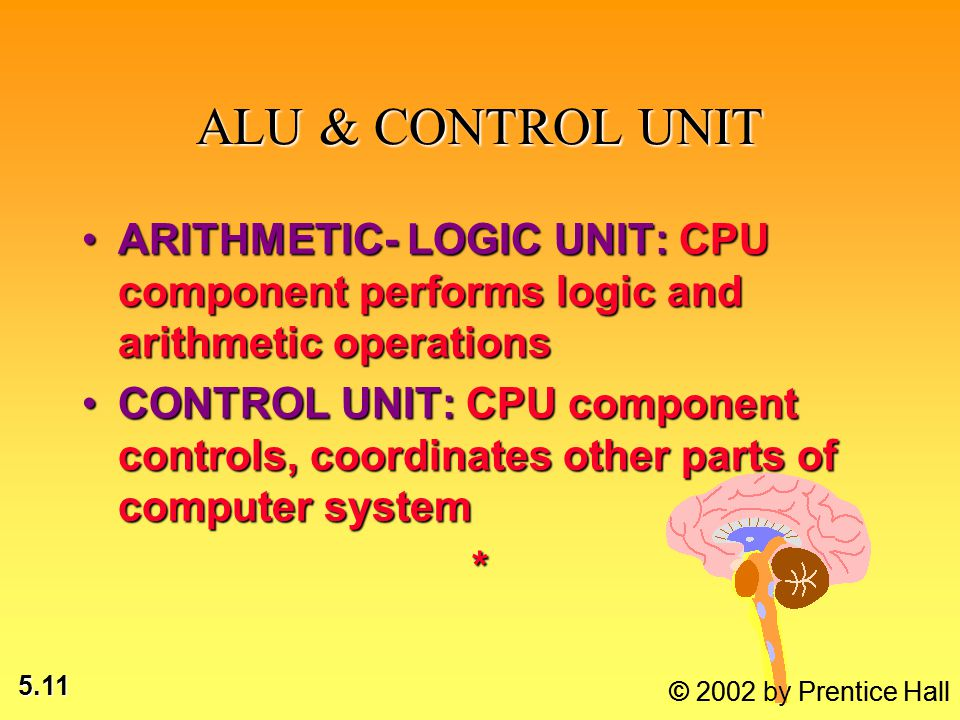 5.11 © 2002 by Prentice Hall ALU & CONTROL UNIT ARITHMETIC- LOGIC UNIT: CPU component performs logic and arithmetic operationsARITHMETIC- LOGIC UNIT: