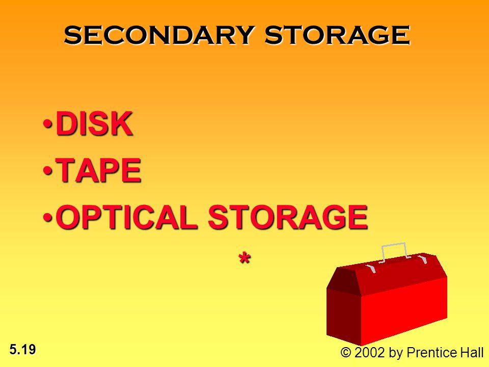 5.19 © 2002 by Prentice Hall DISKDISK TAPETAPE OPTICAL STORAGEOPTICAL STORAGE* SECONDARY STORAGE