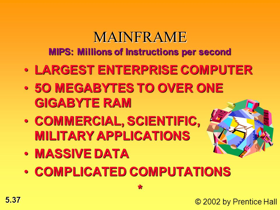 5.37 © 2002 by Prentice Hall MAINFRAME LARGEST ENTERPRISE COMPUTERLARGEST ENTERPRISE COMPUTER 5O MEGABYTES TO OVER ONE GIGABYTE RAM5O MEGABYTES TO OVE