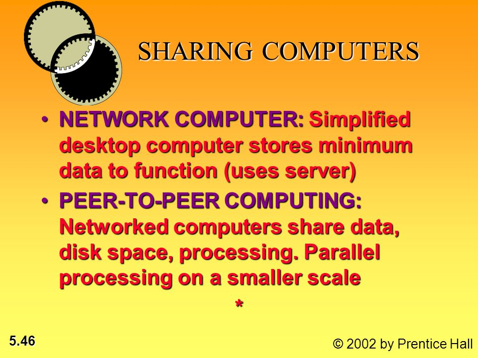 5.46 © 2002 by Prentice Hall SHARING COMPUTERS SHARING COMPUTERS NETWORK COMPUTER: Simplified desktop computer stores minimum data to function (uses s