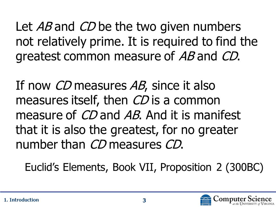 3 1. Introduction Let AB and CD be the two given numbers not relatively prime.