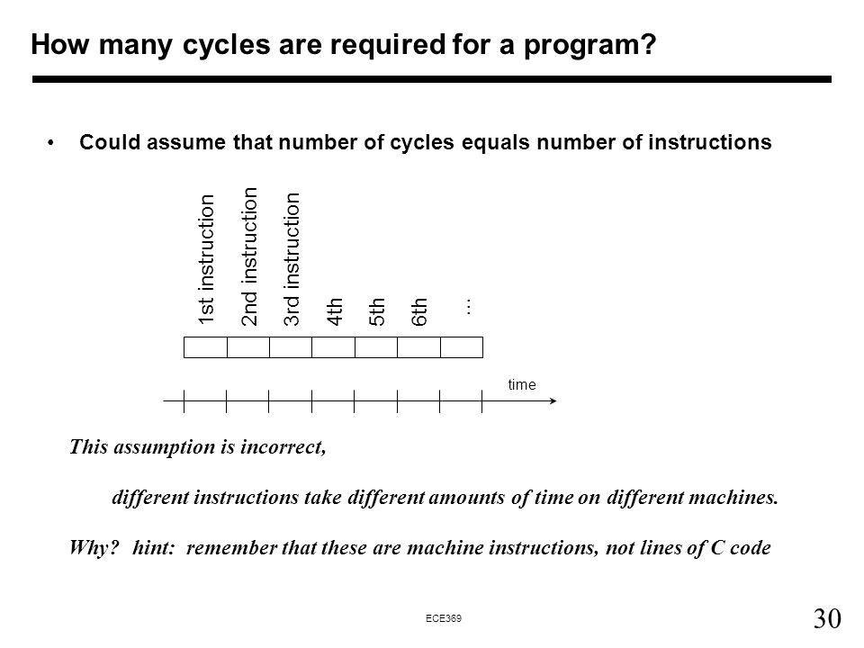 30 ECE369 Could assume that number of cycles equals number of instructions This assumption is incorrect, different instructions take different amounts of time on different machines.