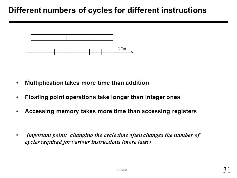 31 ECE369 Multiplication takes more time than addition Floating point operations take longer than integer ones Accessing memory takes more time than accessing registers Important point: changing the cycle time often changes the number of cycles required for various instructions (more later) time Different numbers of cycles for different instructions