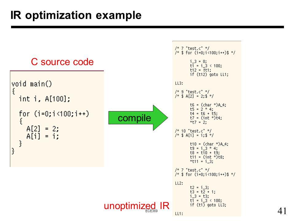 41 ECE369 IR optimization example compile C source code unoptimized IR