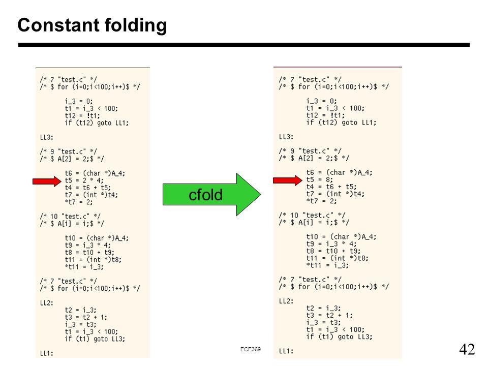 42 ECE369 Constant folding cfold