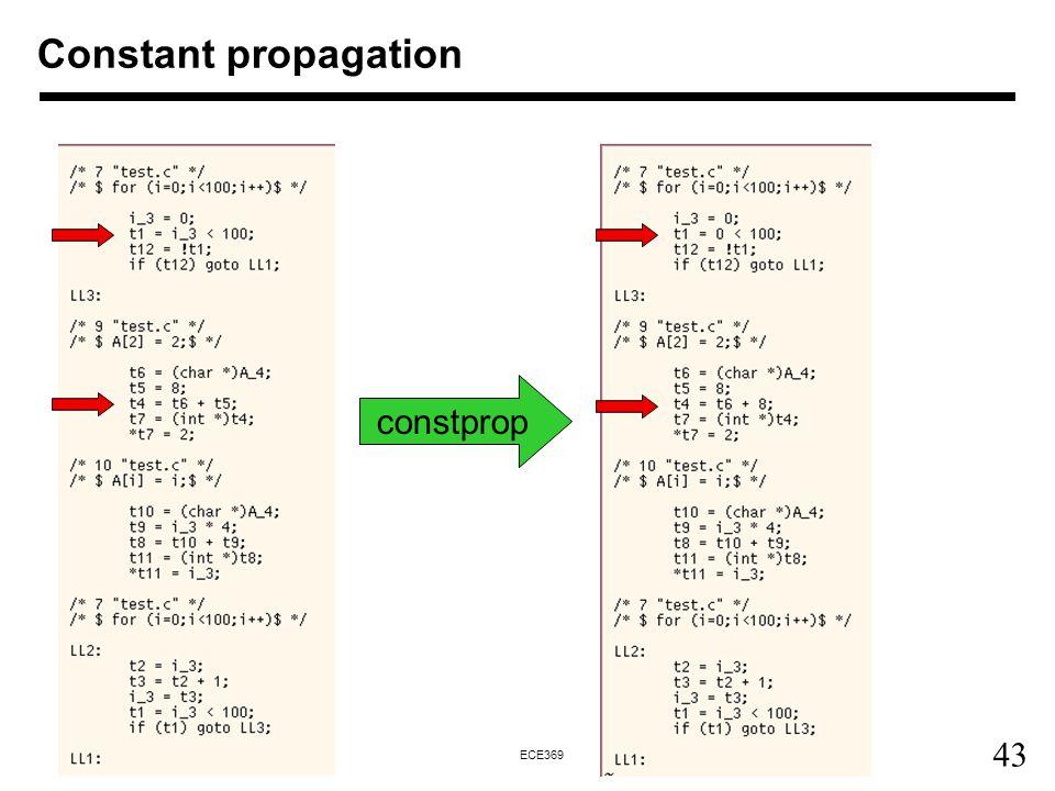 43 ECE369 Constant propagation constprop