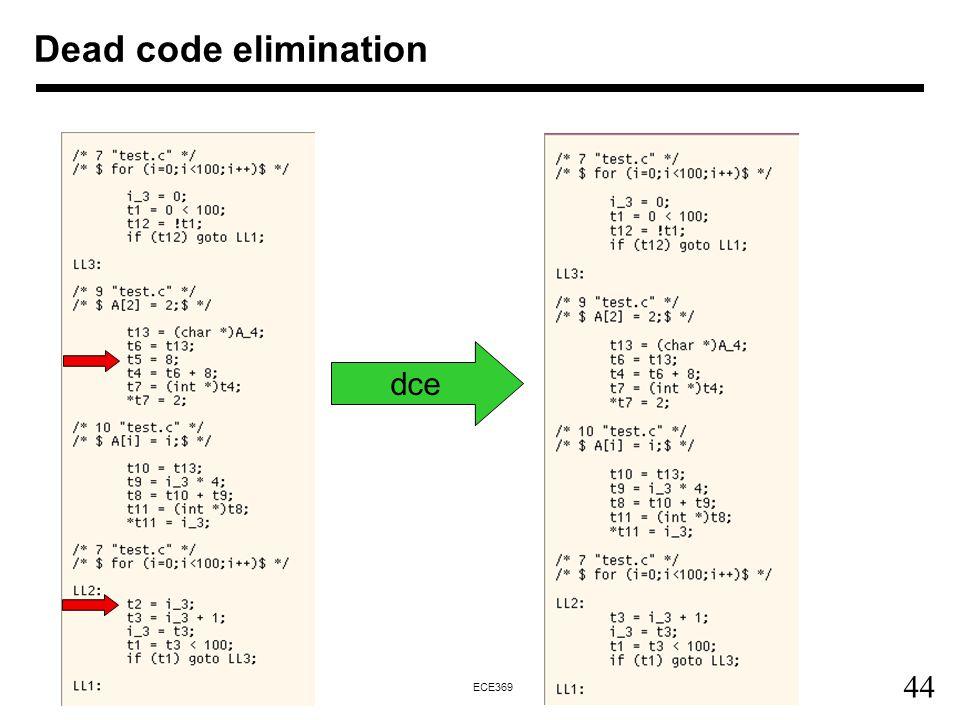 44 ECE369 Dead code elimination dce