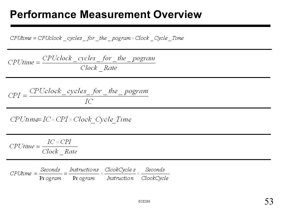 53 ECE369 Performance Measurement Overview