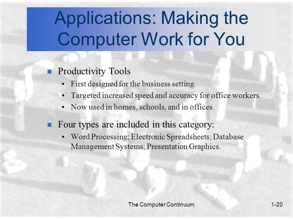 The Computer Continuum1-20 Applications: Making the Computer Work for You n Productivity Tools First designed for the business setting.