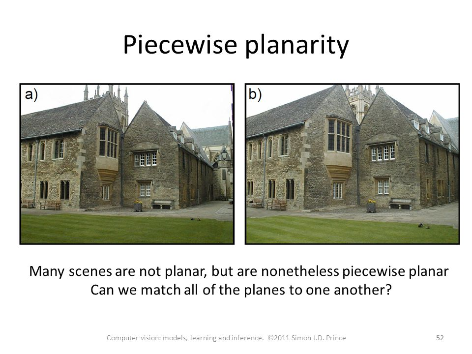 Piecewise planarity 52 Computer vision: models, learning and inference.