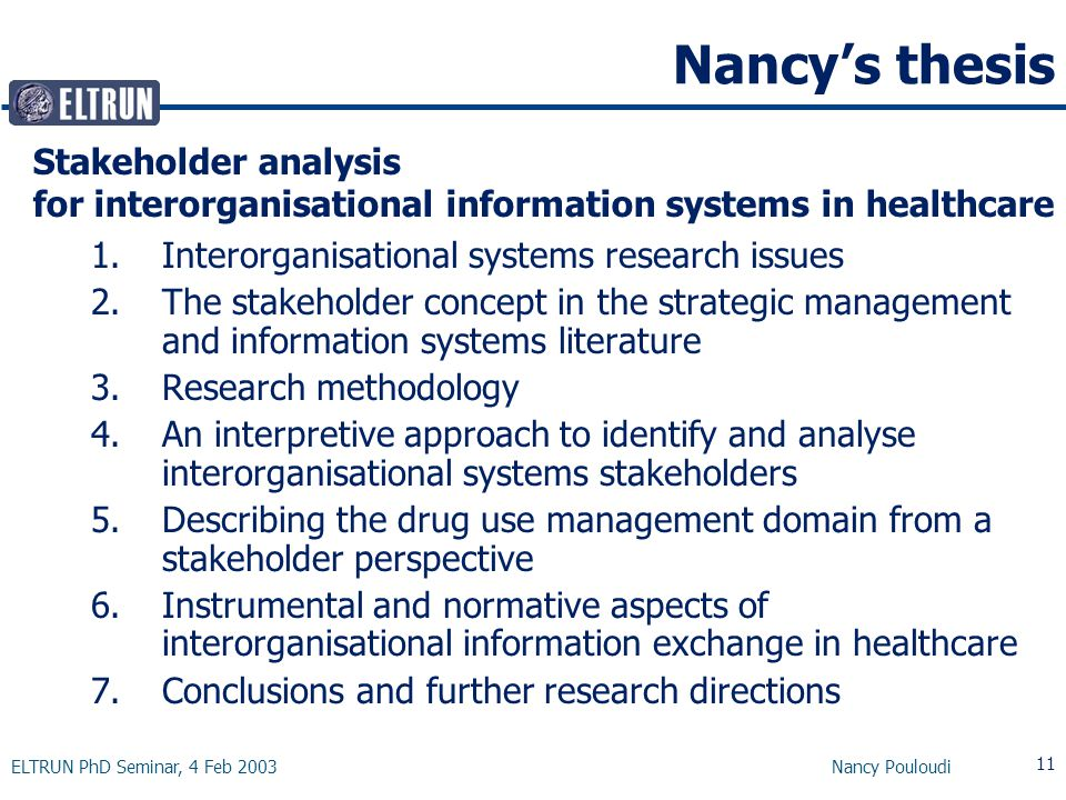 ELTRUN PhD Seminar, 4 Feb 2003 Nancy Pouloudi 11 Nancy's thesis 1.Interorganisational systems research issues 2.The stakeholder concept in the strategic management and information systems literature 3.Research methodology 4.An interpretive approach to identify and analyse interorganisational systems stakeholders 5.Describing the drug use management domain from a stakeholder perspective 6.Instrumental and normative aspects of interorganisational information exchange in healthcare 7.Conclusions and further research directions Stakeholder analysis for interorganisational information systems in healthcare