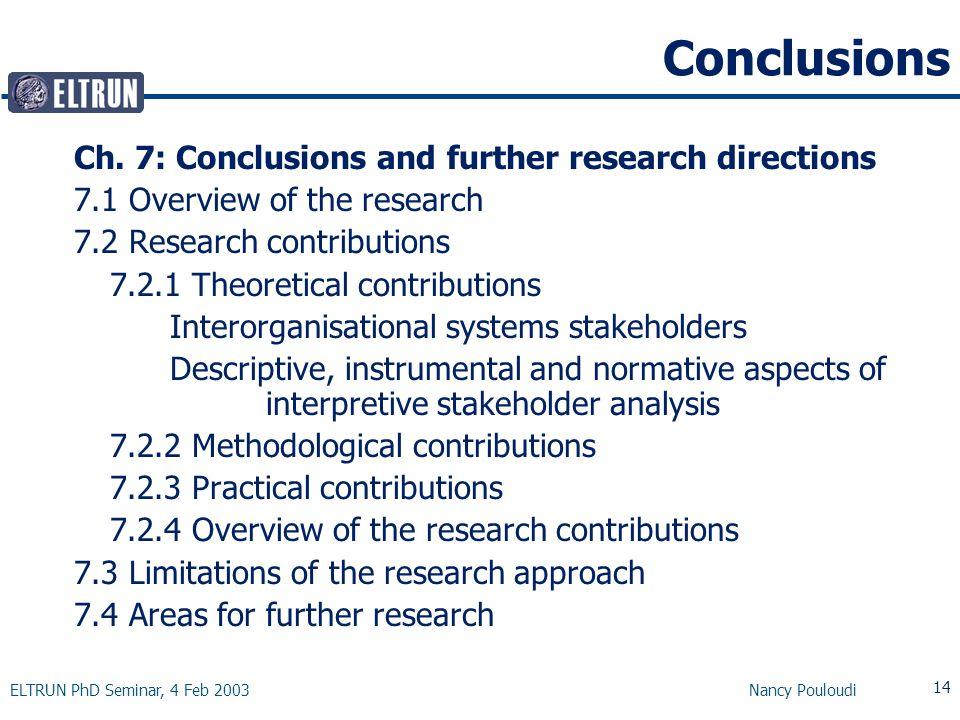 ELTRUN PhD Seminar, 4 Feb 2003 Nancy Pouloudi 14 Conclusions Ch.
