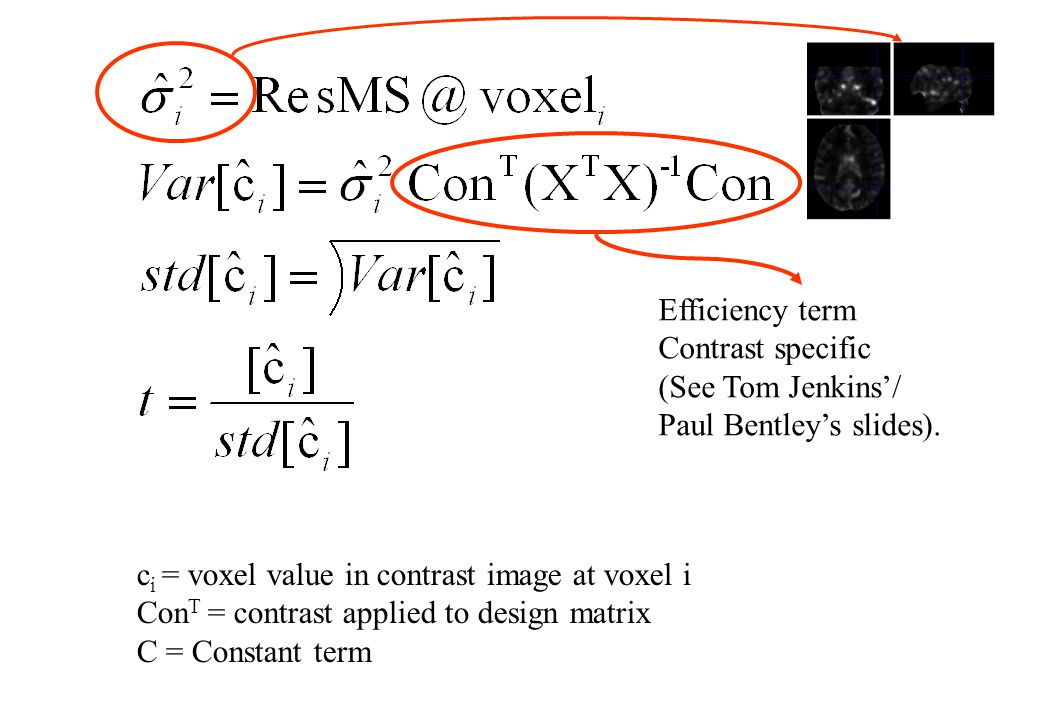 c i = voxel value in contrast image at voxel i Con T = contrast applied to design matrix C = Constant term Efficiency term Contrast specific (See Tom Jenkins'/ Paul Bentley's slides).