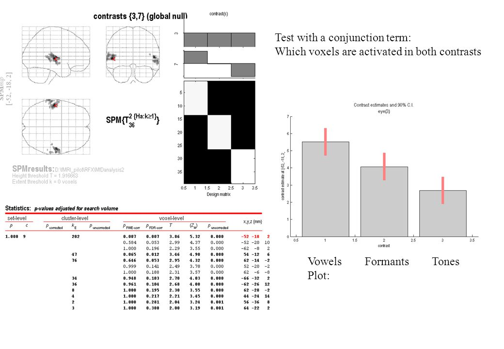 Test with a conjunction term: Which voxels are activated in both contrasts Vowels Formants Tones Plot: