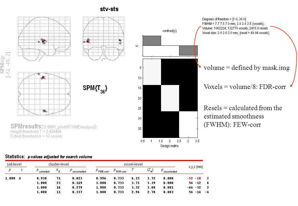 Voxels = volume/8: FDR-corr Resels = calculated from the estimated smoothness (FWHM): FEW-corr volume = defined by mask.img