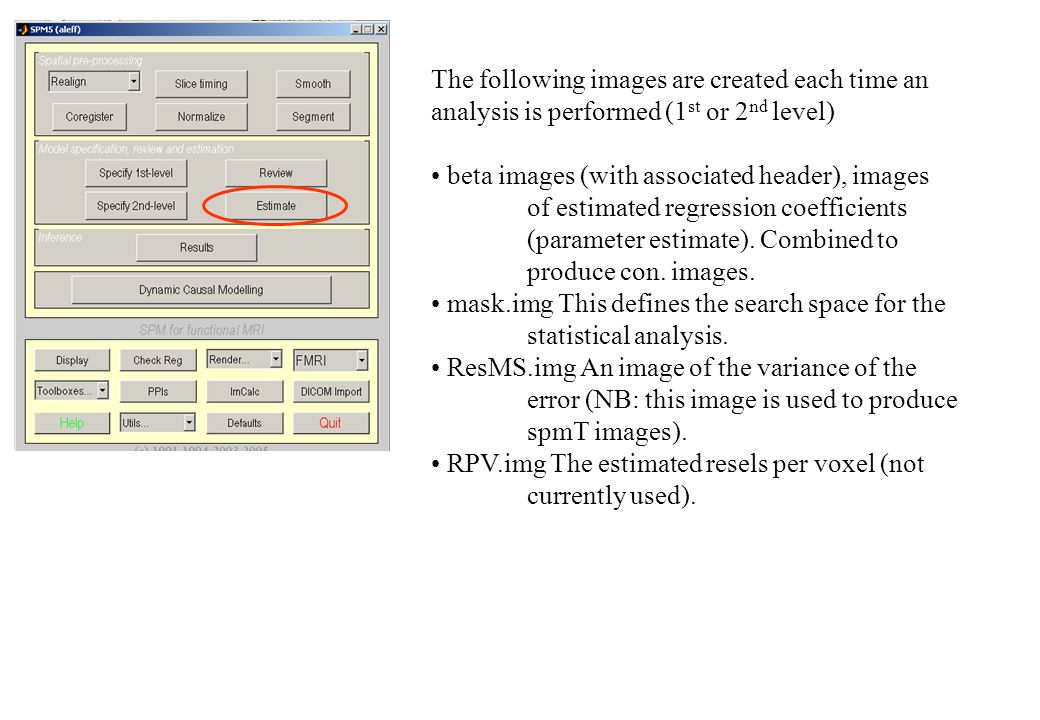 The following images are created each time an analysis is performed (1 st or 2 nd level) beta images (with associated header), images of estimated regression coefficients (parameter estimate).