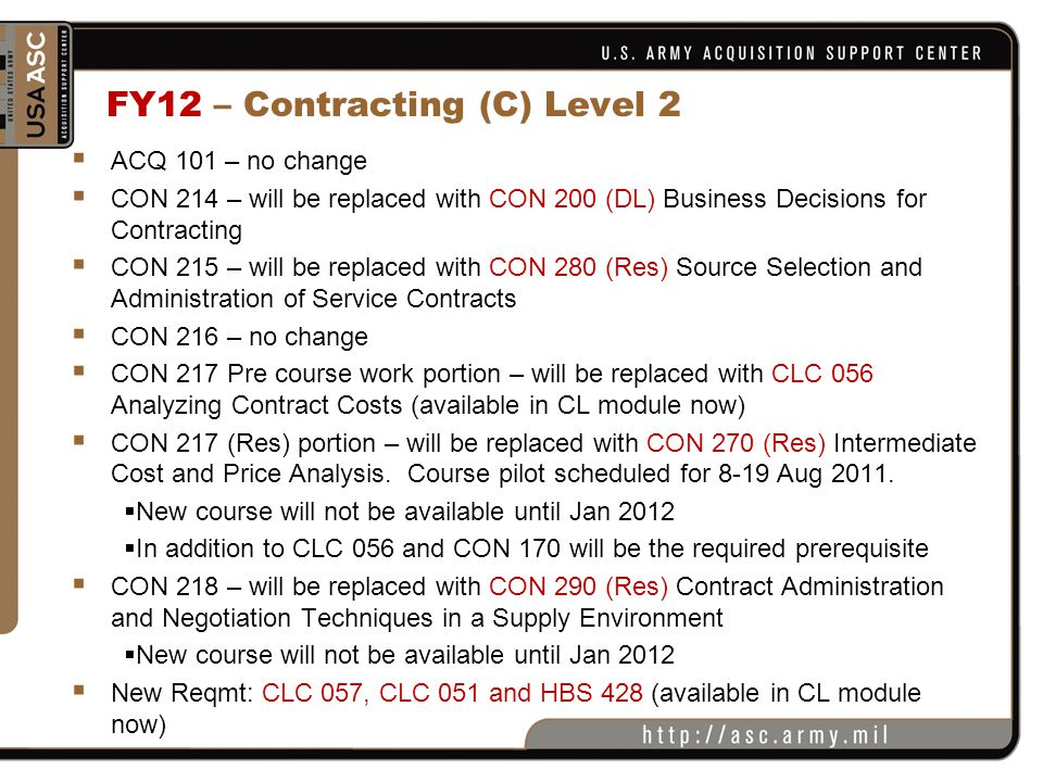 FY12 – Contracting (C) Level 2  ACQ 101 – no change  CON 214 – will be replaced with CON 200 (DL) Business Decisions for Contracting  CON 215 – wil